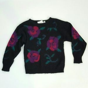 80s vintage floral rose print black sweater Small